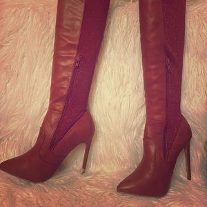 Brand new burnt red stiletto hip boots
